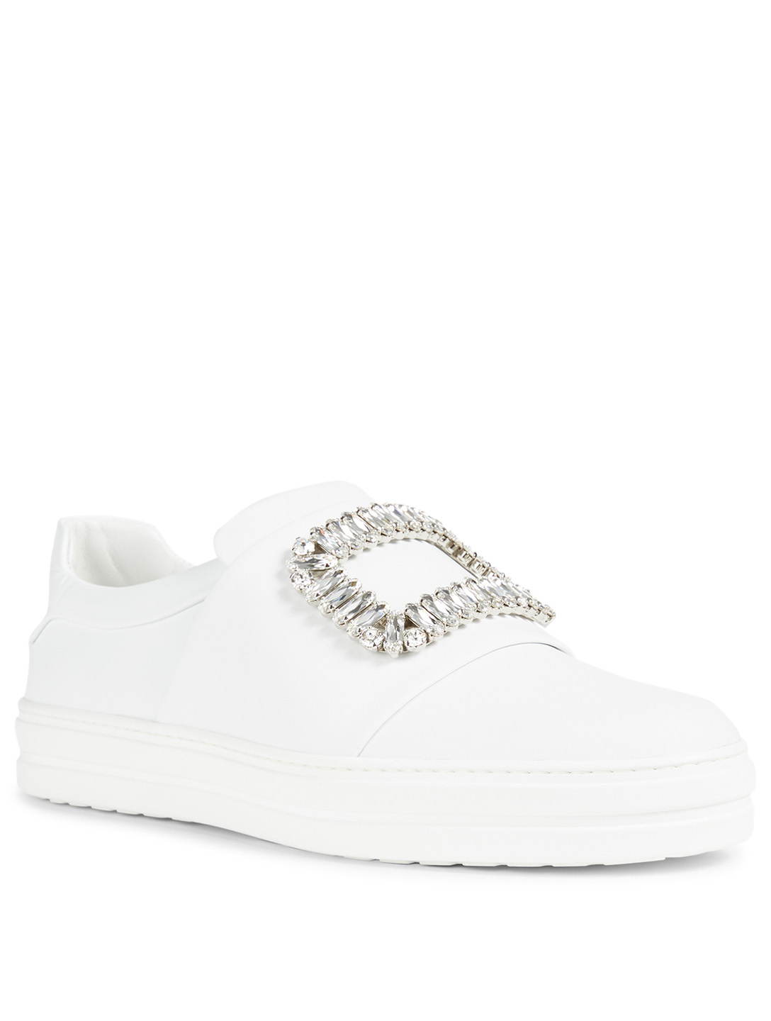 ROGER VIVIER Sneaky Viv Buckle Leather Sneakers Women's White