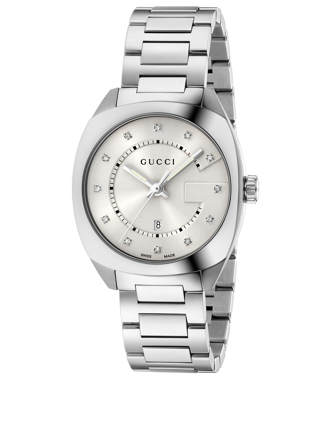 ab39fef1636 GUCCI Stainless Steel Bracelet Watch With Diamonds Women s Silver ...