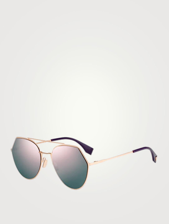FENDI Lunettes de soleil aviateur Eyeline Femmes Gris ... 9f70ea1e78ba