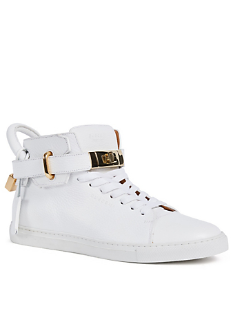 BUSCEMI 100MM Padlock Leather High-Top Sneakers Men's White