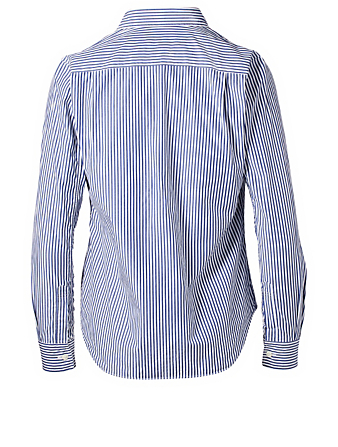 COMME DES GARÇONS PLAY Embroidered Heart Button-Up Shirt In Stripe Women's Blue