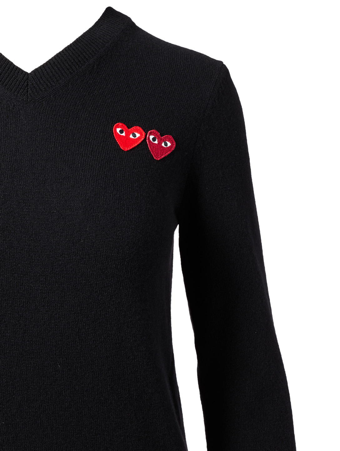COMME DES GARÇONS PLAY Wool Double Heart V-Neck Sweater Designers Black