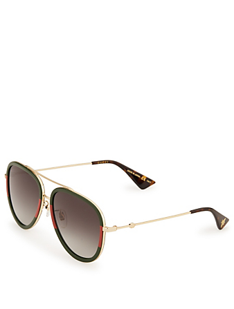 GUCCI Aviator Sunglasses Womens Red