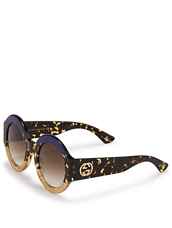 GUCCI Round Glitter Stripe Sunglasses Womens Blue