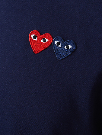 COMME DES GARÇONS PLAY Double Heart Patch T-Shirt Men's Blue