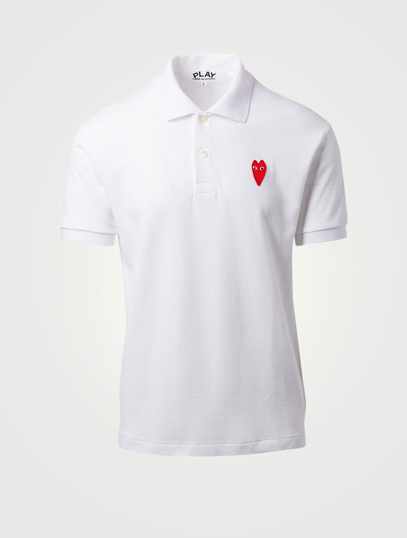 26a64d44 COMME DES GARÇONS PLAY Long Heart Polo Shirt Men's White ...
