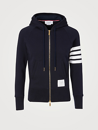 THOM BROWNE Cotton Zip Hoodie With Four-Bar Stripe Men's Blue
