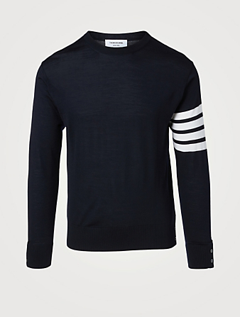 THOM BROWNE Wool Sweater With Four-Bar Stripe Men's Blue