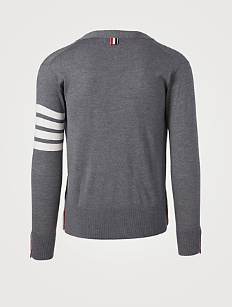 THOM BROWNE Wool V-Neck Cardigan With Four-Bar Stripe Men's Grey