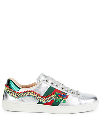 GUCCI New Ace Leather Sneakers With Dragon Embroidery Men's Silver