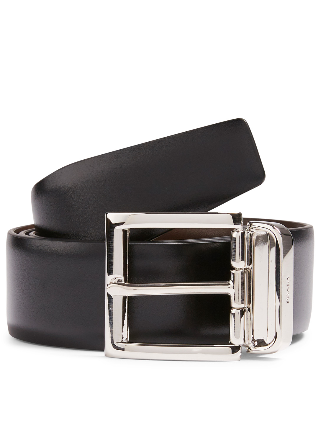 PRADA Reversible Saffiano Leather Belt Men's Black