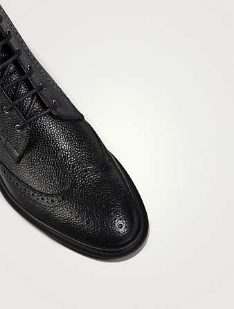 THOM BROWNE Grained Leather Wingtip Brogue Boots Men's Black