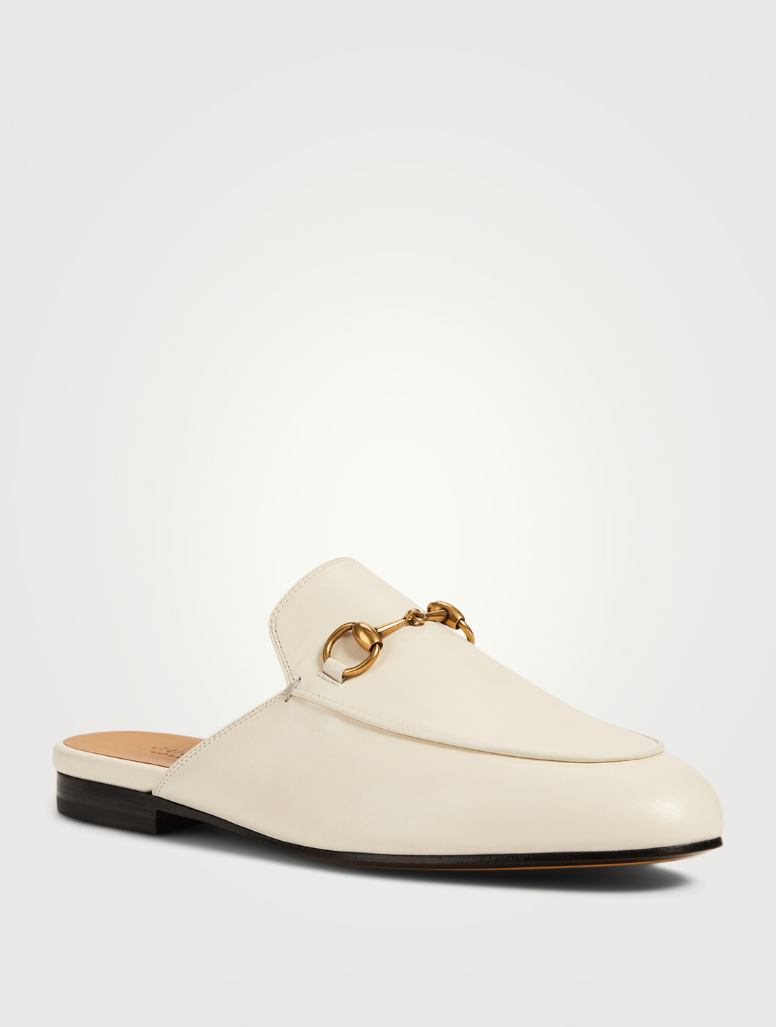 GUCCI Princetown Leather Slippers Women's White