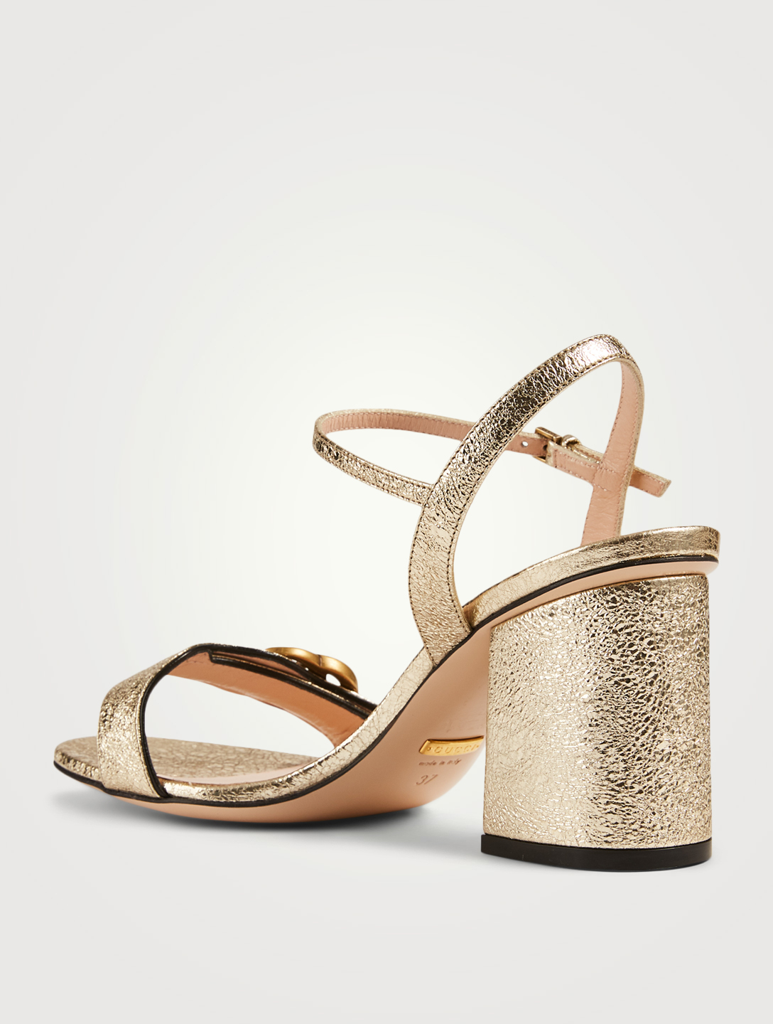 GUCCI Metallic Laminate Leather Heeled Sandals Women's Metallic