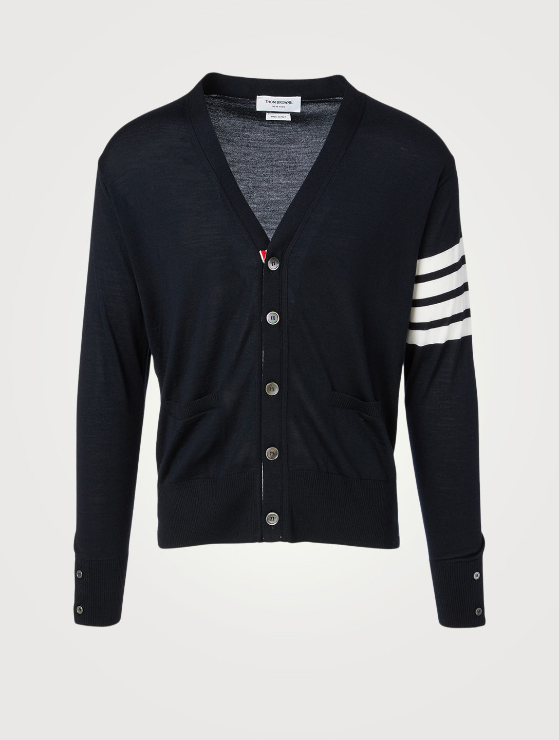 THOM BROWNE Wool Cardigan With Four-Bar Stripe Men's Blue