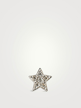 SYDNEY EVAN 14K White Gold Single Star Stud Earring With Diamonds Womens Silver
