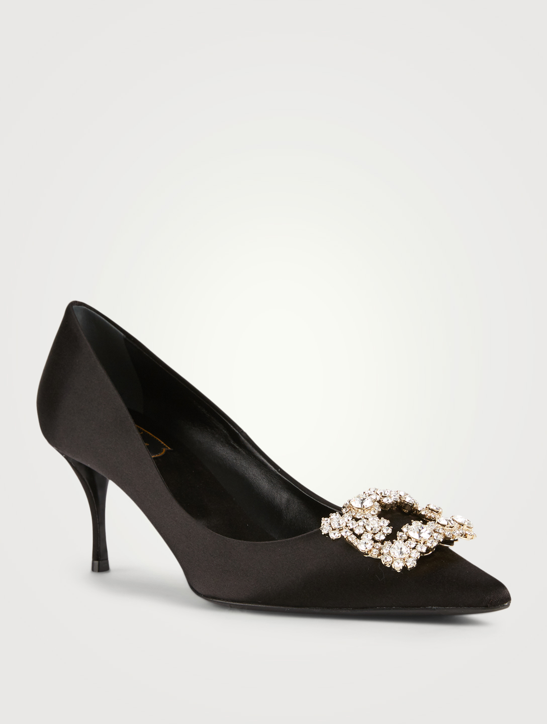 ROGER VIVIER Flower Strass Silk Satin Pumps Women's Black