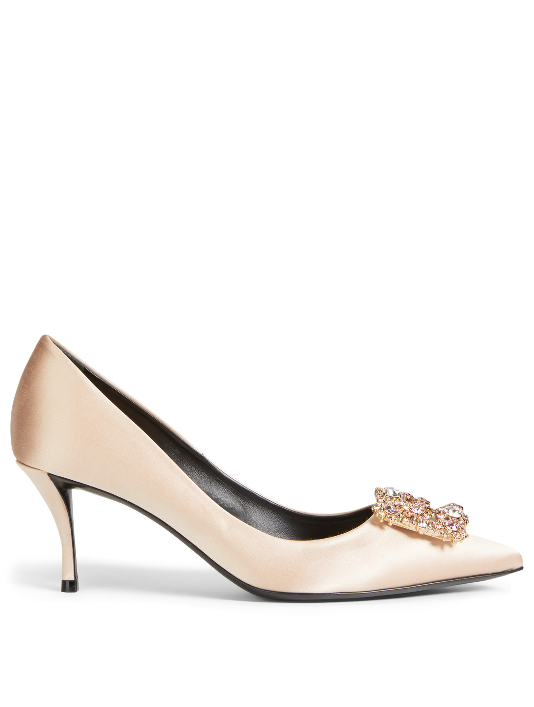 0f90d73372 ROGER VIVIER Flower Strass Silk Satin Pumps Designers Neutral ...