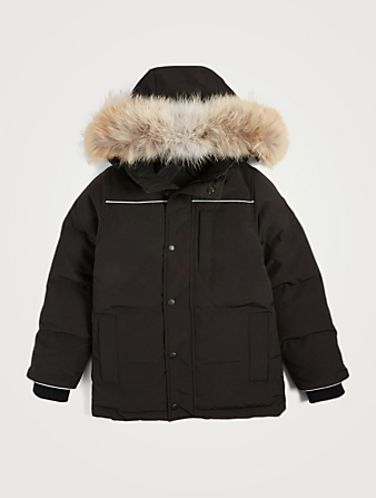 CANADA GOOSE Youth Eakin Down Parka With Fur Kids Black