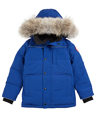 CANADA GOOSE Youth Eakin Down Parka With Fur Hood Kids Blue