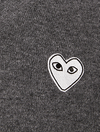 COMME DES GARÇONS PLAY Wool Heart V-Neck Sweater Men's Grey