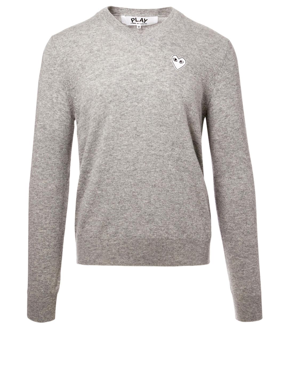 9b9823c7d693 COMME DES GARÇONS PLAY Wool Heart V-Neck Sweater Men s ...