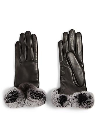 FLORIANA GLOVES Leather Gloves With Fur Cuff Womens Black