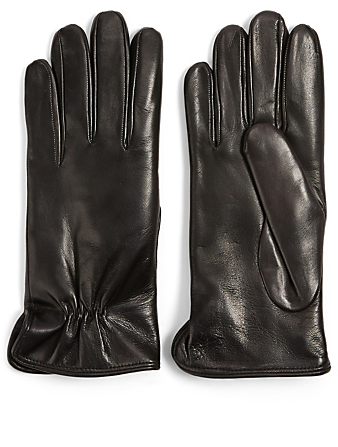 FLORIANA GLOVES Fur-Lined Leather Gloves Womens Black