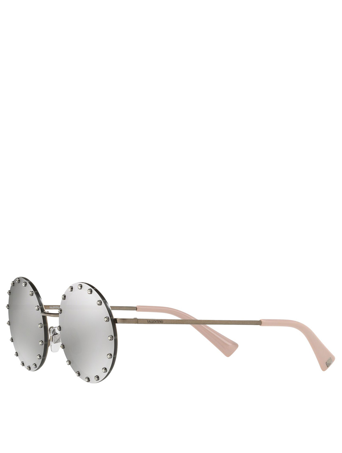 VALENTINO Round Sunglasses With Crystals Women's Silver