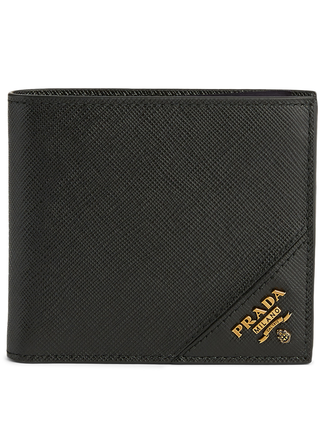 PRADA Saffiano Leather Contrast Logo Wallet Men's Black