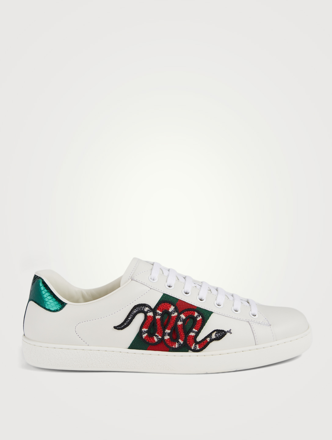 f5a1cf4358cd GUCCI New Ace Leather Sneakers With Snake Embroidery Men s White ...