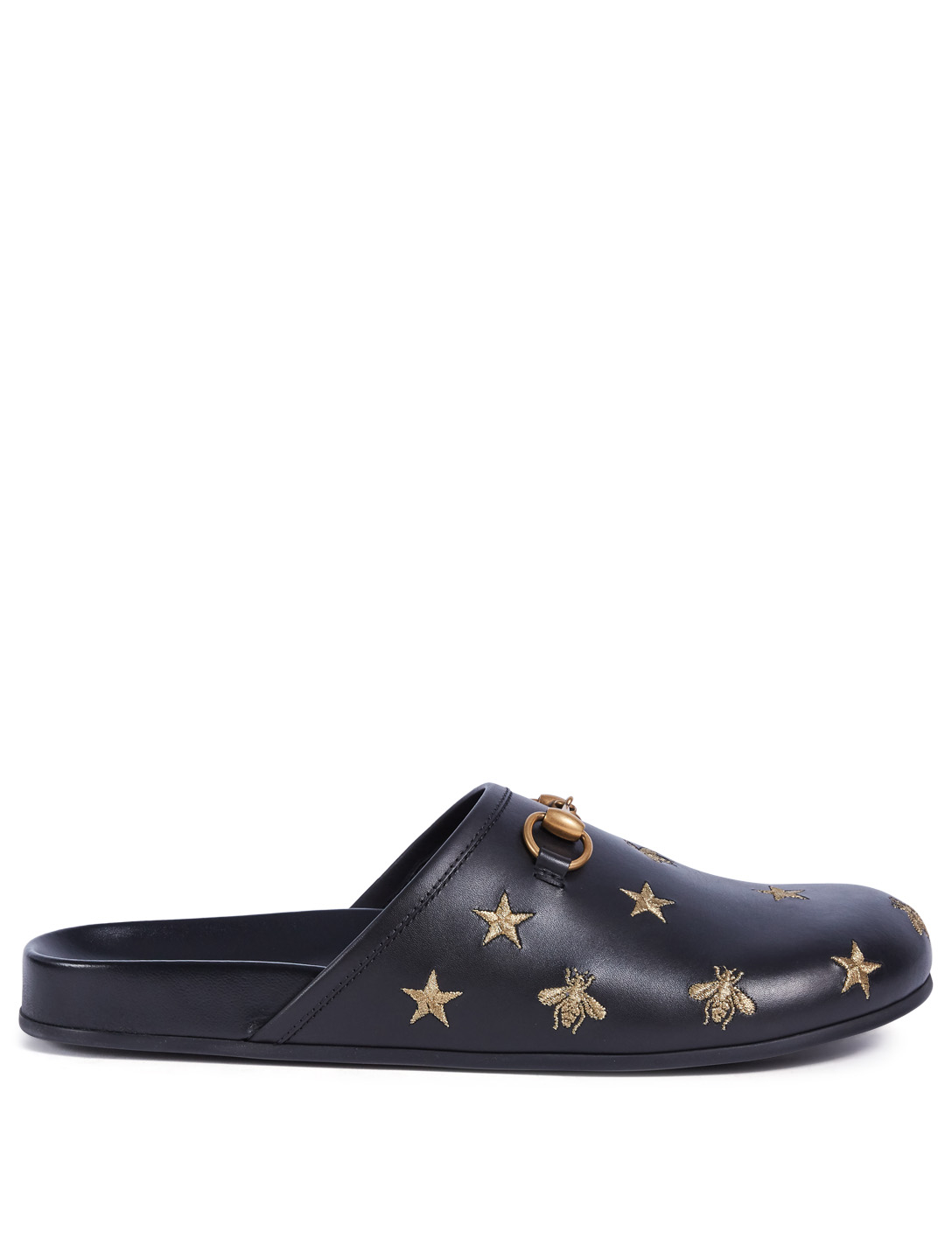 16e56b731d18 GUCCI River Embroidered Leather Clog Slippers Men s Black ...