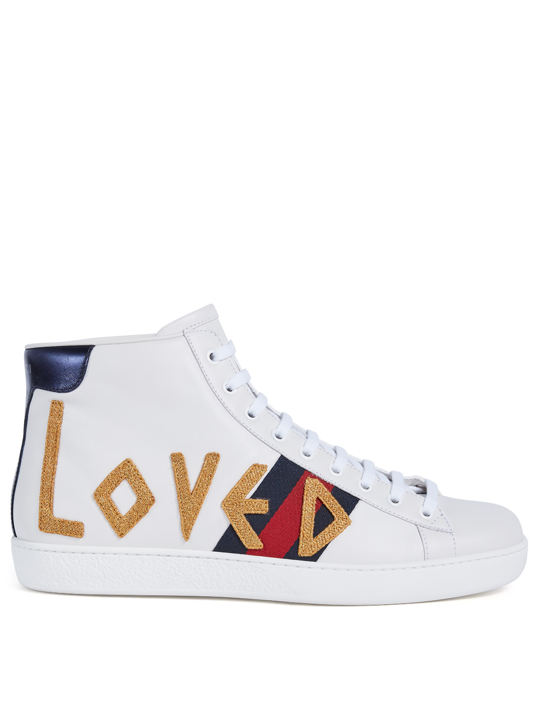 GUCCI New Ace High-Top Sneakers With Loved Logo Men's White