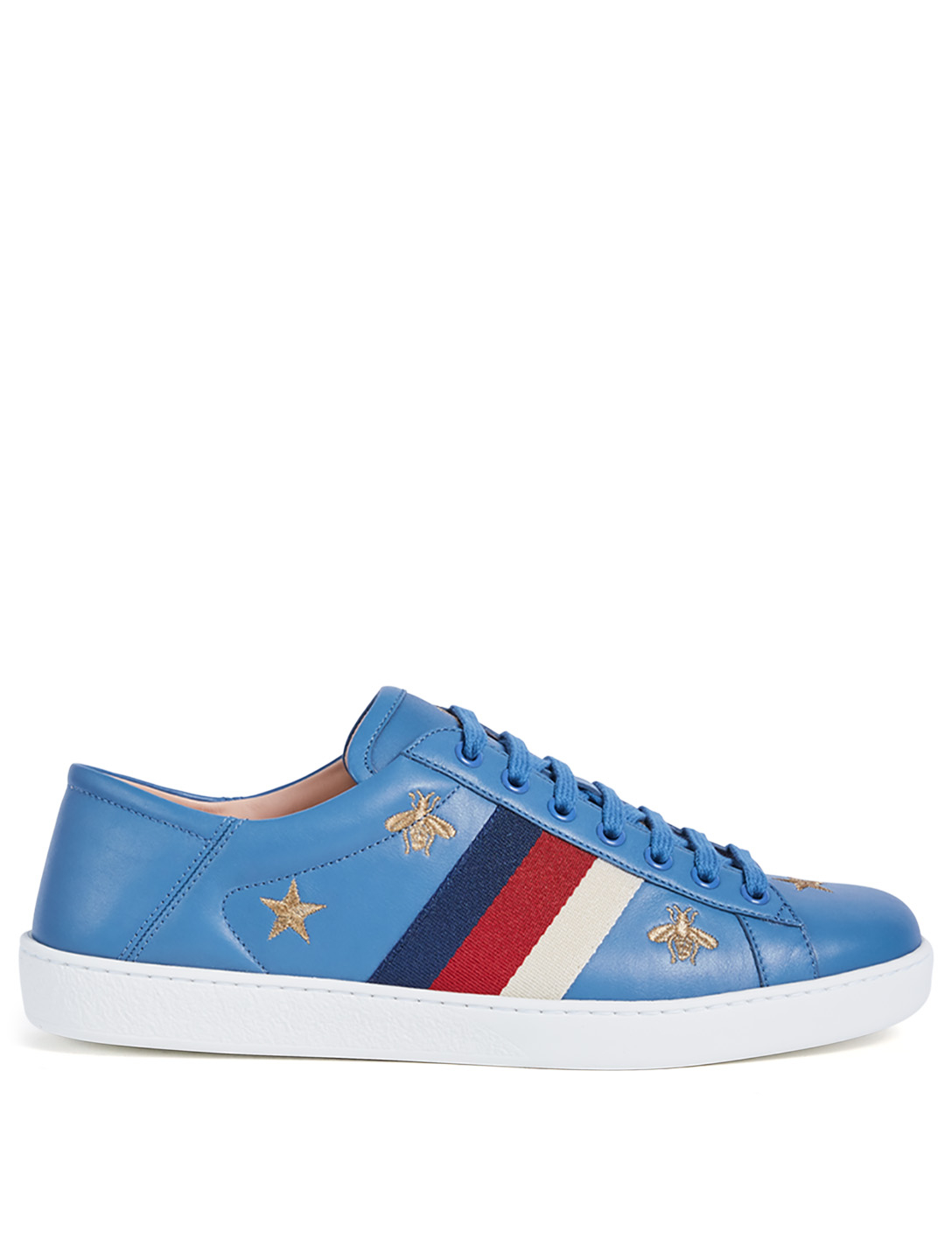 GUCCI Ace Embroidered Leather Sneakers Men's Blue