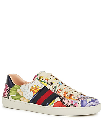 GUCCI New Ace Leather Sneakers With Floral Snake Detail Men's White