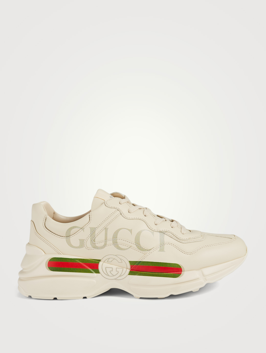 eed447242f5 GUCCI Rhyton Leather Sneakers With Logo Men s White ...