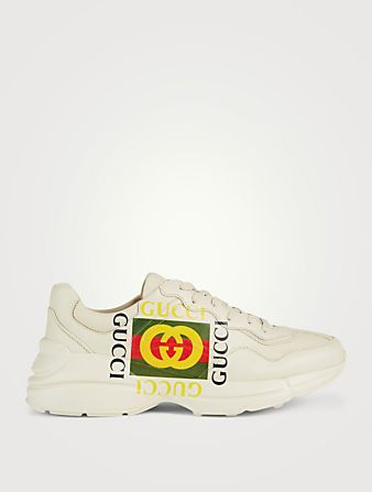 GUCCI Rhyton Leather Sneakers With Logo Men's White