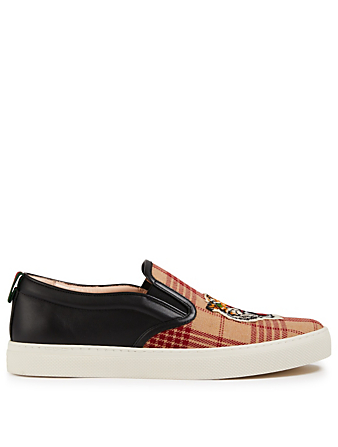 GUCCI Dublin Slip-On Plaid Sneakers With Tiger Patch Men's Black