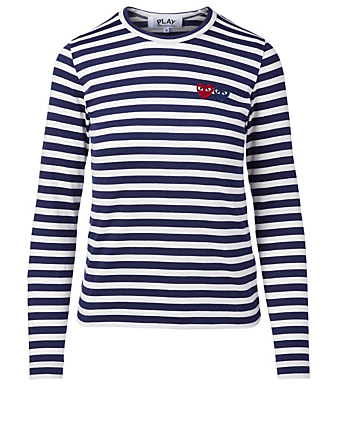 COMME DES GARÇONS PLAY Double Heart Long-Sleeve Top In Striped Print Women's Blue