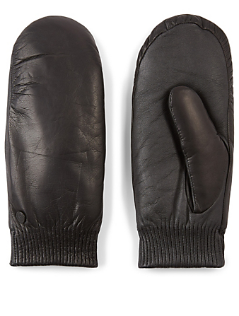 CANADA GOOSE Leather Rib Luxe Mittens Women's Black