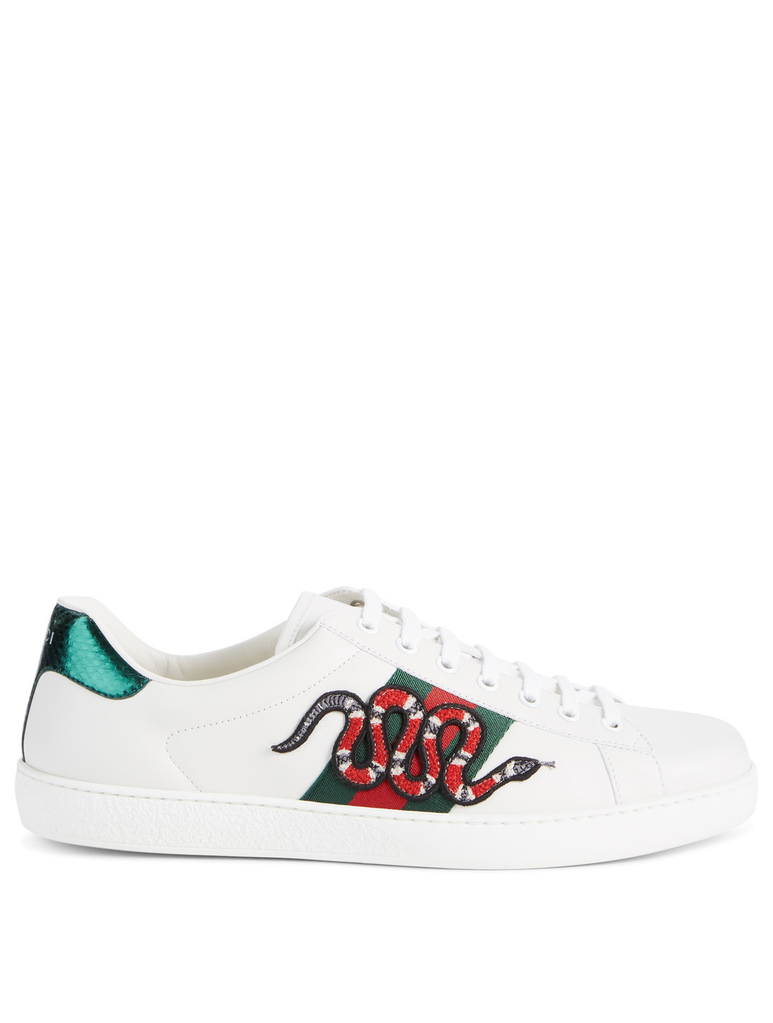 be8edad2287 GUCCI New Ace Leather Sneakers With Snake Embroidery