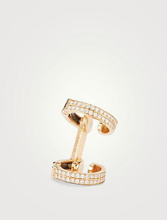 REPOSSI Berbère Monotype 18K Rose Gold Double Band Ear Cuff With Pavé Diamonds Womens Metallic