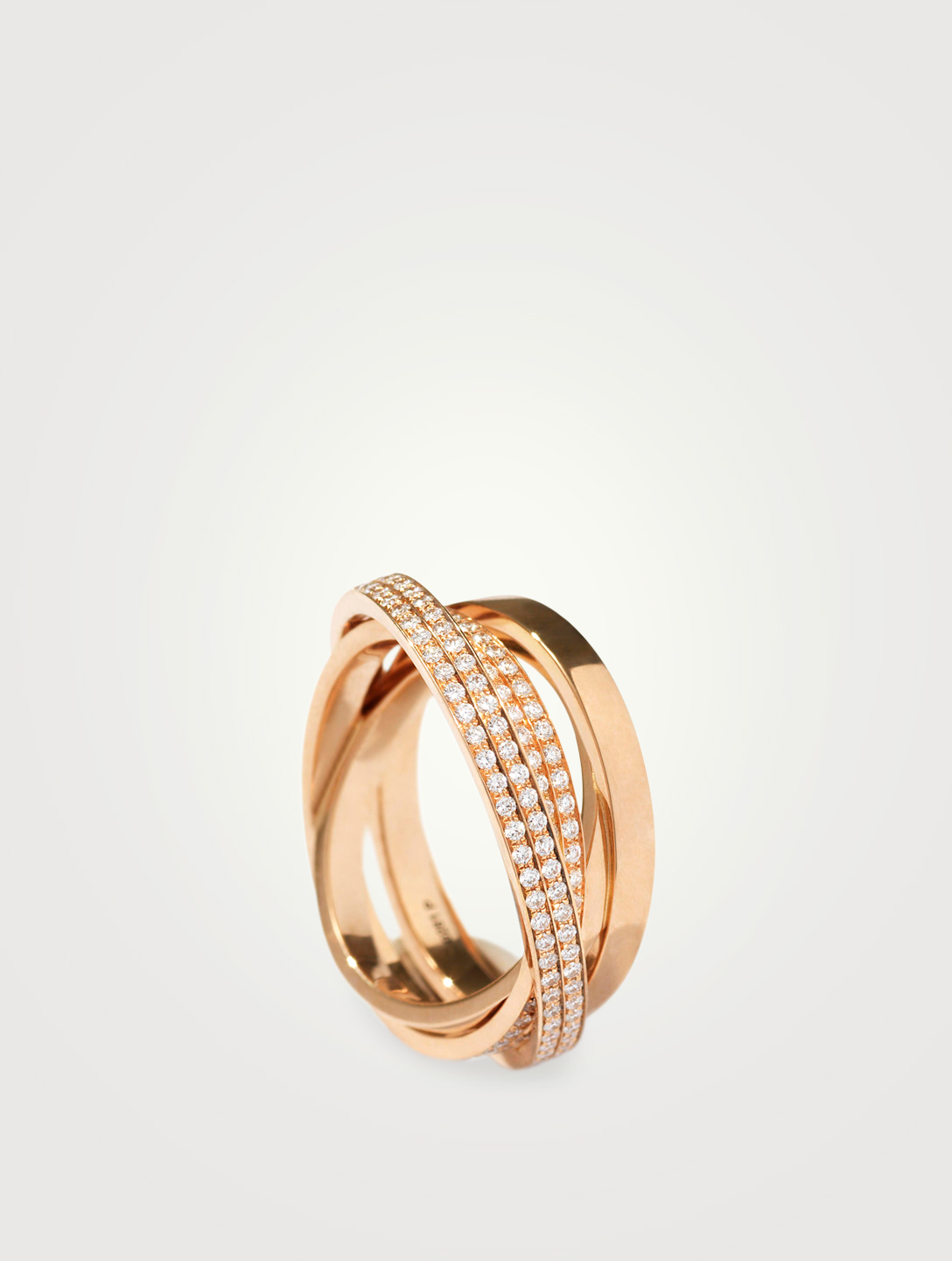 REPOSSI Technical Berbère 18K Rose Gold Four Band Twisted Ring With Diamonds Womens Metallic