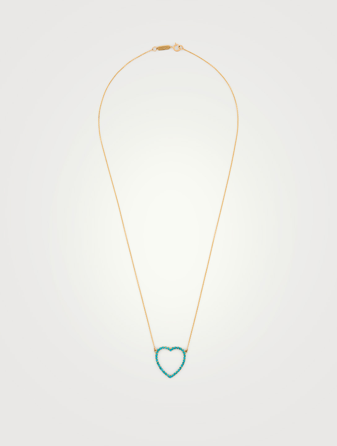 JENNIFER MEYER Large Gold Turquoise Open Heart Necklace Women's Gold