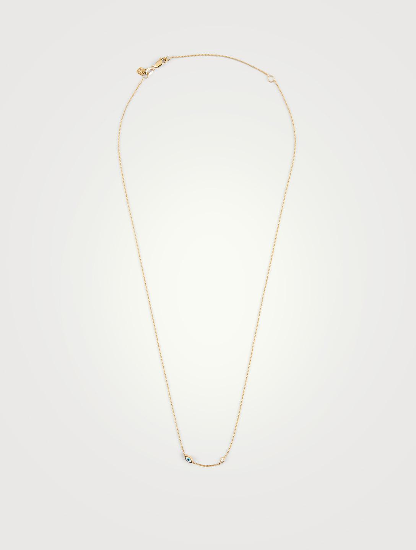 024b4a0ba2091 SYDNEY EVAN Mini 14K Gold Evil Eye Necklace With Diamond Bezel ...