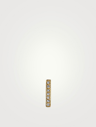 SYDNEY EVAN Small 14K Gold Bar Single Stud Earring With Diamonds Womens Gold
