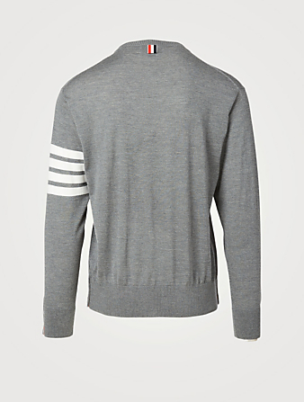 THOM BROWNE Wool Sweater With Four-Bar Stripe Men's Grey