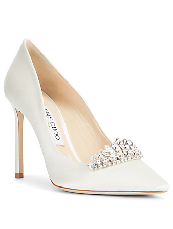 JIMMY CHOO Romy 100 Satin Pumps With Crystals Womens White