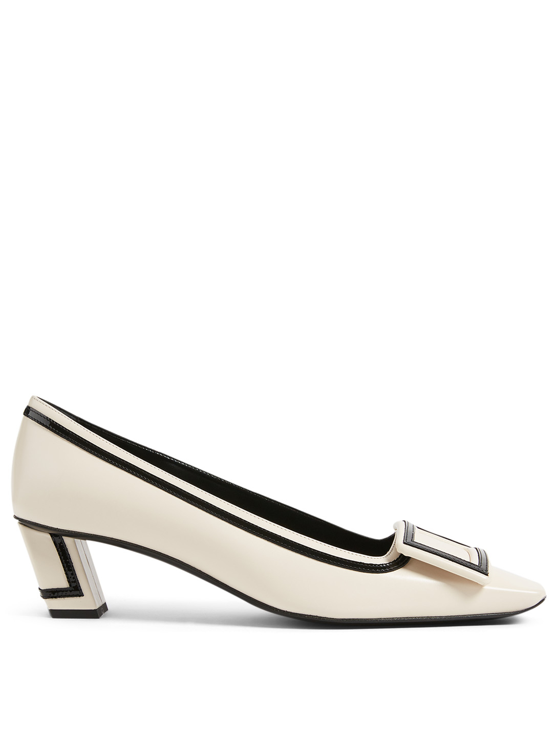ROGER VIVIER Belle Vivier Graphic Leather Pumps Women's White