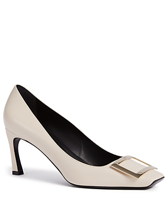 ROGER VIVIER Belle Vivier Trompette Leather Pumps Women's White
